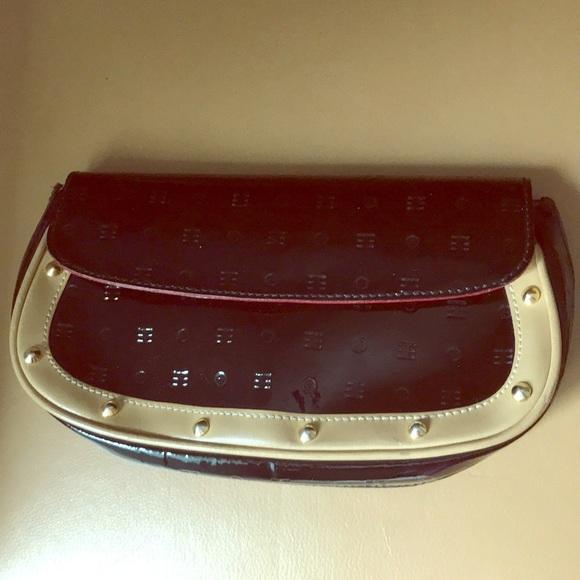 Arcadia Handbags - Black patent leather gold studded clutch camel tan